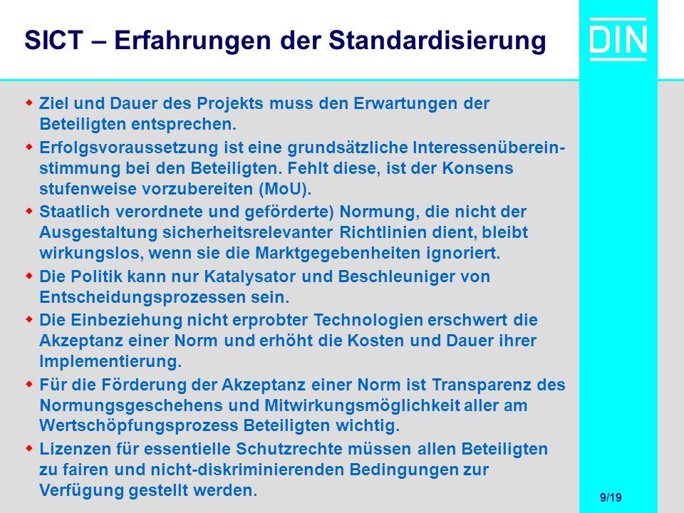 9/20 9/19 SICT – Erfahrungen der Standardisierung Ziel und Dauer des Projekts muss den Erwartungen der Beteiligten entsprechen. Erfolgsvoraussetzung i