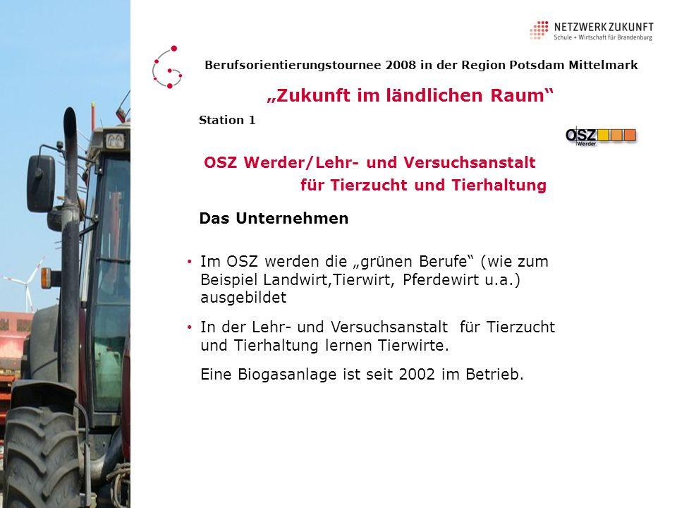 Berufsorientierungstournee 2008 in der Region Potsdam Mittelmark Station 1 OSZ Werder/Lehr- und Versuchsanstalt für Tierzucht und Tierhaltung Die jungen Männer berichten über ihre Ausbildung.