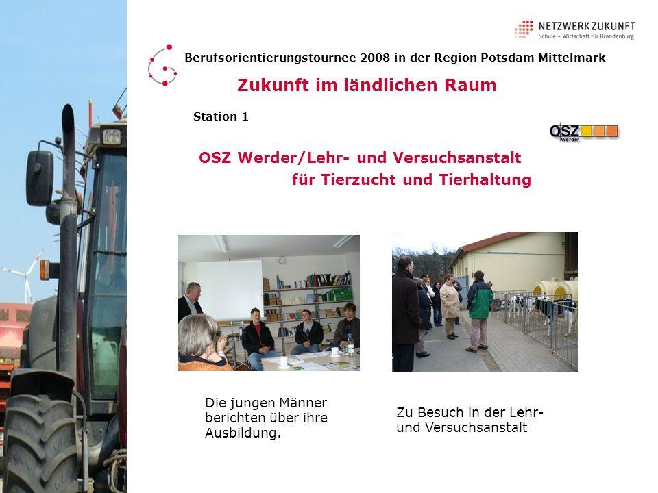 Berufsorientierungstournee 2008 in der Region Potsdam Mittelmark Station 1 OSZ Werder/Lehr- und Versuchsanstalt für Tierzucht und Tierhaltung Die jung