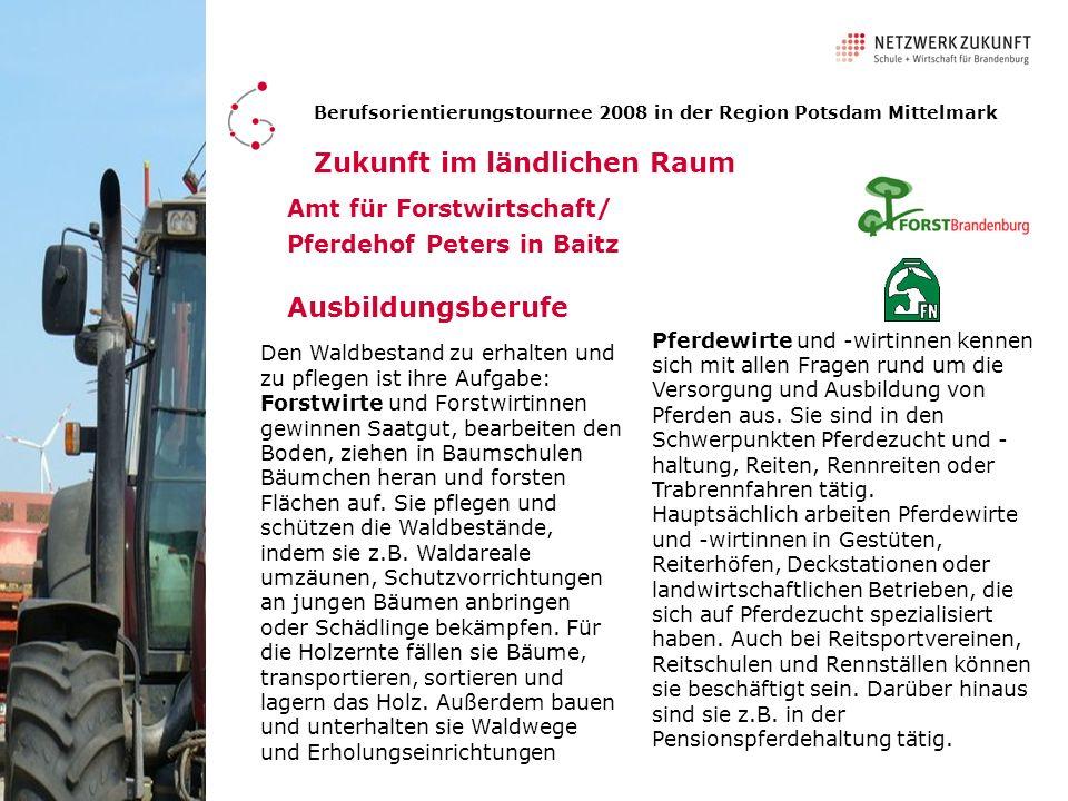 Wir danken den beteiligten Unternehmen und Einrichtungen für ihre Mitwirkung : Berufsorientierungstournee 2008 in der Region Potsdam Mittelmark Zukunft im ländlichen Raum Diese Tournee wurde unterstützt von: Agrargenossenschaft Planetal in Golzow Galabau Marcus Preu ß GmbH & Co.