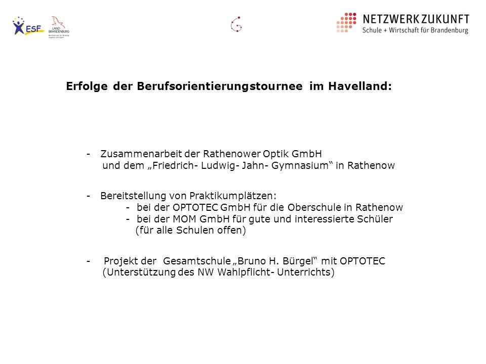 Erfolge der Berufsorientierungstournee im Havelland: - Zusammenarbeit der Rathenower Optik GmbH und dem Friedrich- Ludwig- Jahn- Gymnasium in Rathenow