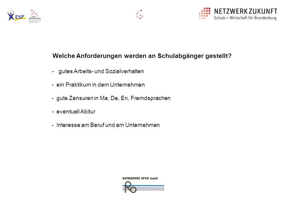 Ausbildung bei der MOM- GmbH Werkzeugmechaniker/ -in Anforderungen: - gutes Arbeits- und Sozialverhalten - ein Praktikum in dem Unternehmen - gute Zensuren in Ma, De, Ph - Interesse am Beruf und am Unternehmen