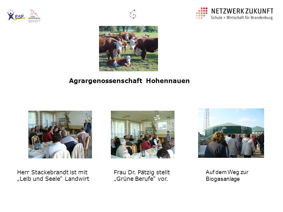 Agrargenossenschaft Hohennauen Auf dem Weg zur Biogasanlage Frau Dr. Pätzig stellt Grüne Berufe vor. Herr Stackebrandt ist mit Leib und Seele Landwirt