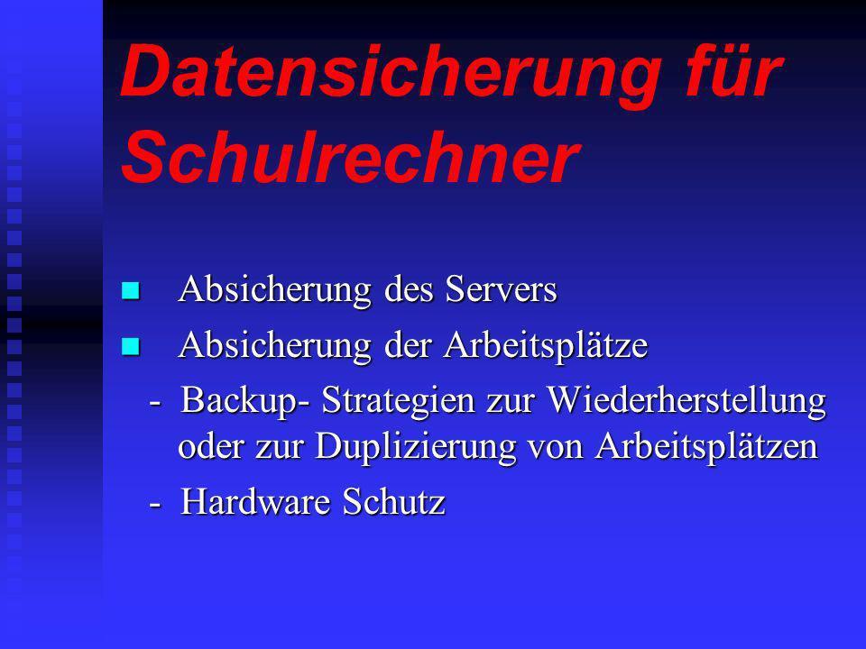 Datensicherung für Schulrechner Raid- Verfahren Raid- Verfahren Raid- Verfahren Raid- Verfahren Die Erstellung von Boot- Disketten mit Netboot Die Erstellung von Boot- Disketten mit Netboot Die Erstellung von Boot- Disketten mit Netboot Die Erstellung von Boot- Disketten mit Netboot VGA- Dupe VGA- Dupe VGA- Dupe VGA- Dupe Symantec Ghost Symantec Ghost Symantec Ghost Symantec Ghost Backmagic Backmagic Backmagic Protector- Karten Protector- Karten Protector- Karten Protector- Karten DKS- Clone DKS- Clone DKS- Clone DKS- Clone