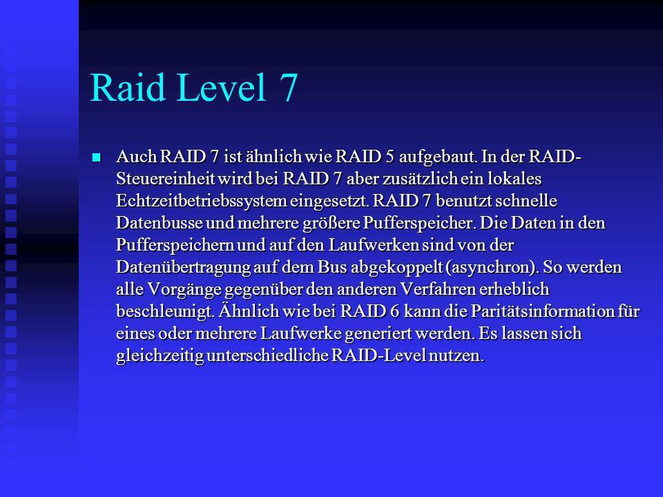Raid Level 7 Auch RAID 7 ist ähnlich wie RAID 5 aufgebaut. In der RAID- Steuereinheit wird bei RAID 7 aber zusätzlich ein lokales Echtzeitbetriebssyst