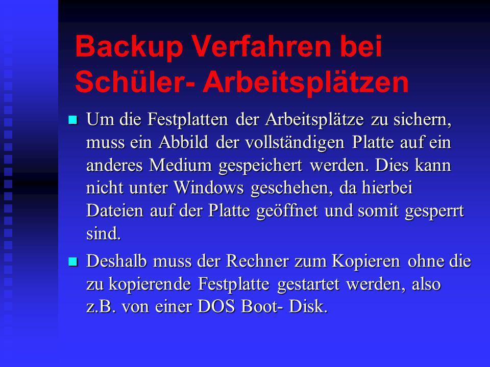 Backup Verfahren bei Schüler- Arbeitsplätzen Um die Festplatten der Arbeitsplätze zu sichern, muss ein Abbild der vollständigen Platte auf ein anderes