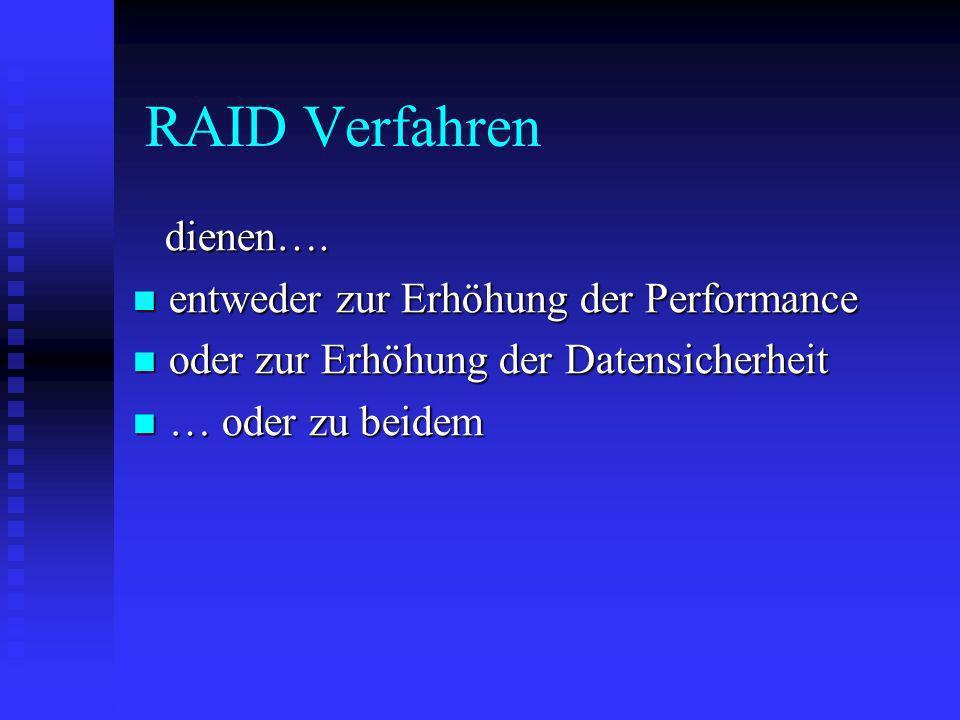 RAID Verfahren dienen…. dienen…. entweder zur Erhöhung der Performance entweder zur Erhöhung der Performance oder zur Erhöhung der Datensicherheit ode