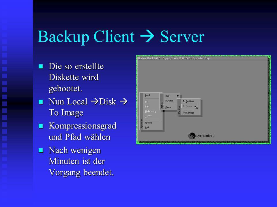 Backup Client Server Die so erstellte Diskette wird gebootet. Die so erstellte Diskette wird gebootet. Nun Local Disk To Image Nun Local Disk To Image