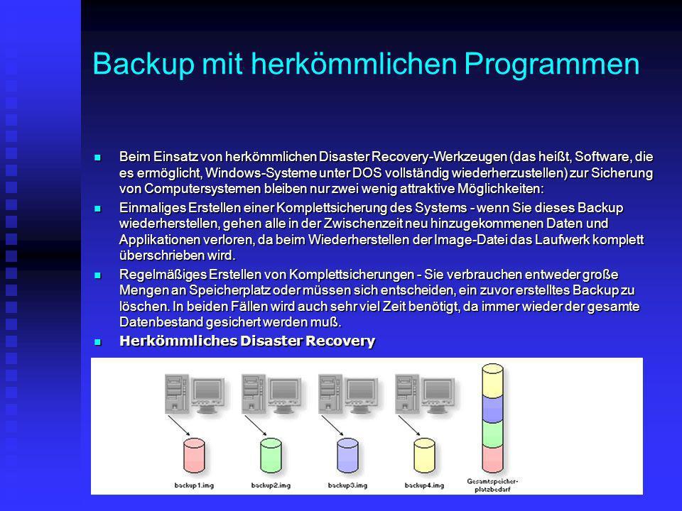 Backup mit herkömmlichen Programmen Beim Einsatz von herkömmlichen Disaster Recovery-Werkzeugen (das heißt, Software, die es ermöglicht, Windows-Syste