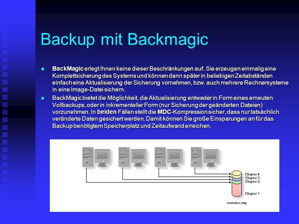 Backup mit Backmagic BackMagic erlegt Ihnen keine dieser Beschränkungen auf. Sie erzeugen einmalig eine Komplettsicherung des Systems und können dann