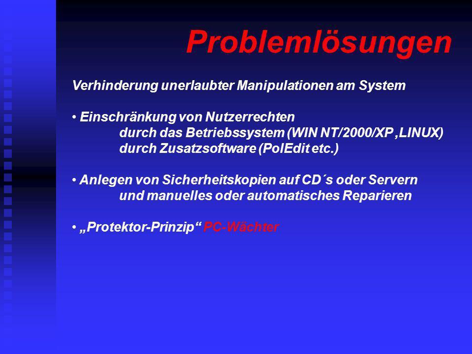Verhinderung unerlaubter Manipulationen am System Einschränkung von Nutzerrechten durch das Betriebssystem (WIN NT/2000/XP,LINUX) durch Zusatzsoftware
