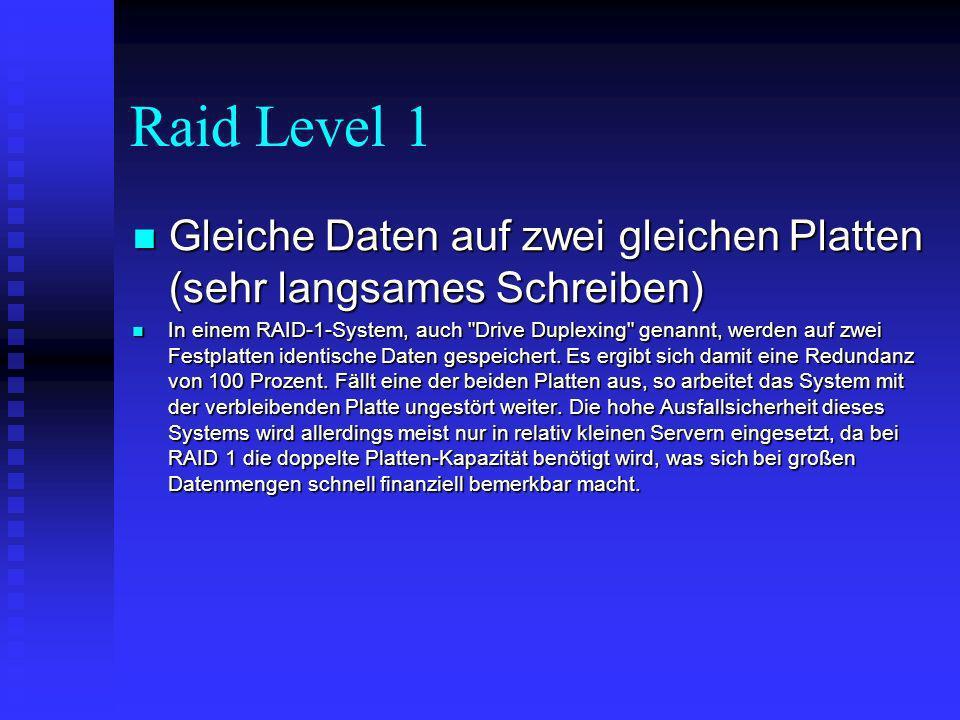 Raid Level 2 sehr selten, Verwendung eines speziellen Codes sehr selten, Verwendung eines speziellen Codes Das RAID 2-System teilt die Daten in einzelne Bytes auf und verteilt sie auf die Platten des Platten-Arrays.