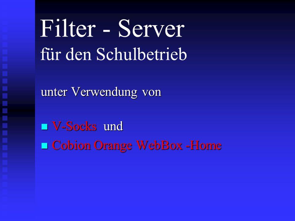 Voraussetzungen Netzwerk Netzwerk TCP/IP Protokoll installiert TCP/IP Protokoll installiert Am besten feste IP- Adressen im Netz Am besten feste IP- Adressen im Netz Möglichst vorhandener Internet Router im Netz Möglichst vorhandener Internet Router im Netz Überzähliger, separater Rechner zum Einsatz als Filter-Server Überzähliger, separater Rechner zum Einsatz als Filter-Server