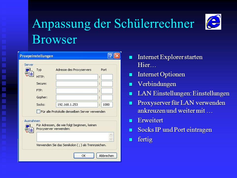 Anpassung der Schülerrechner Browser Internet Explorer starten Hier… Internet Explorer starten Hier… Internet Optionen Internet Optionen Verbindungen