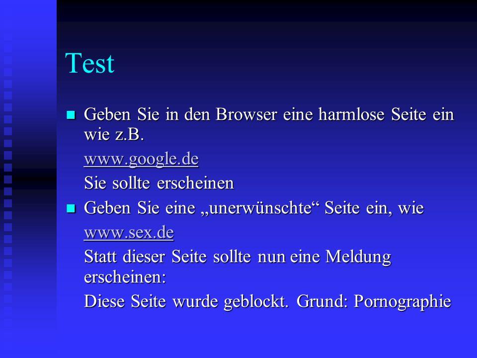 Test Geben Sie in den Browser eine harmlose Seite ein wie z.B. Geben Sie in den Browser eine harmlose Seite ein wie z.B. www.google.de Sie sollte ersc