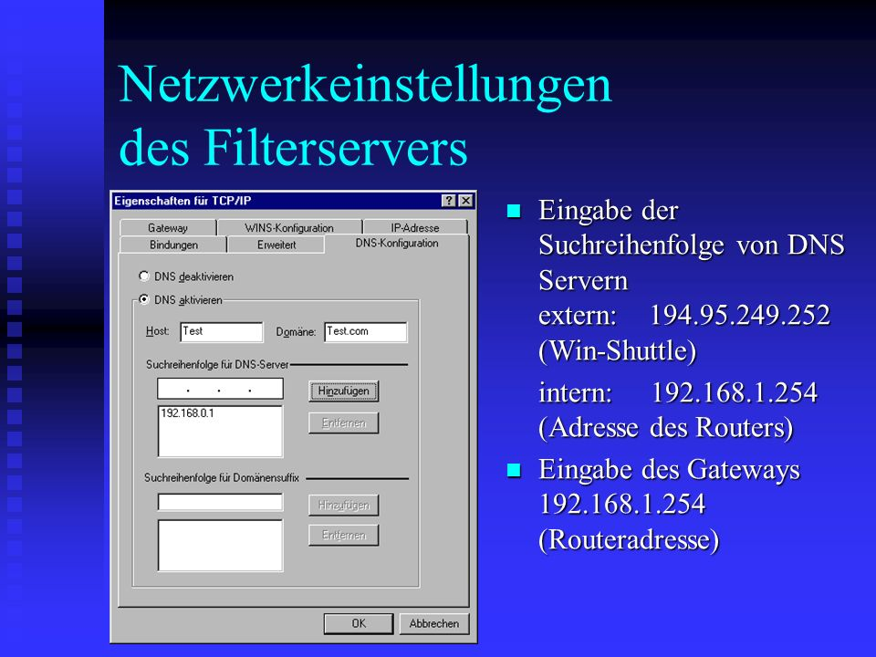 Test der Netzwerkeinstellungen Ping 192.168.1.254 (Adresse des Routers) im DOS Fenster sollte drei gültige Resultate bringen (kein timeout!) Ping 192.168.1.254 (Adresse des Routers) im DOS Fenster sollte drei gültige Resultate bringen (kein timeout!) Ebenso Ping 194.95.249.252 ins Internet.
