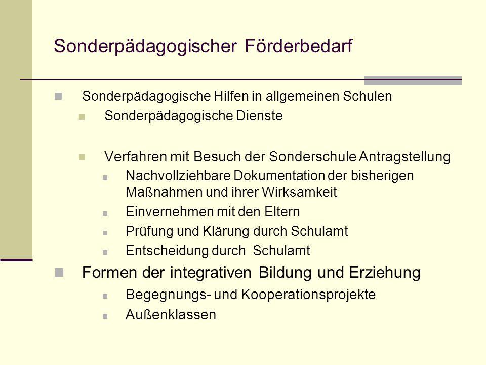 Sonderpädagogischer Förderbedarf Sonderpädagogische Hilfen in allgemeinen Schulen Sonderpädagogische Dienste Verfahren mit Besuch der Sonderschule Ant