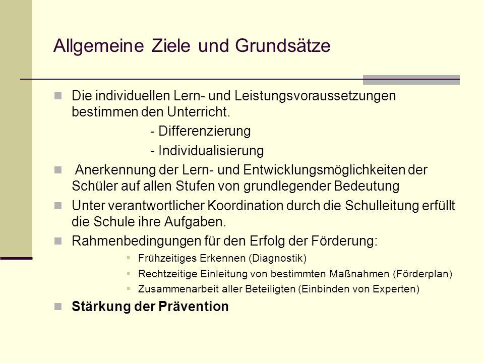 Allgemeine Ziele und Grundsätze Die individuellen Lern- und Leistungsvoraussetzungen bestimmen den Unterricht. - Differenzierung - Individualisierung