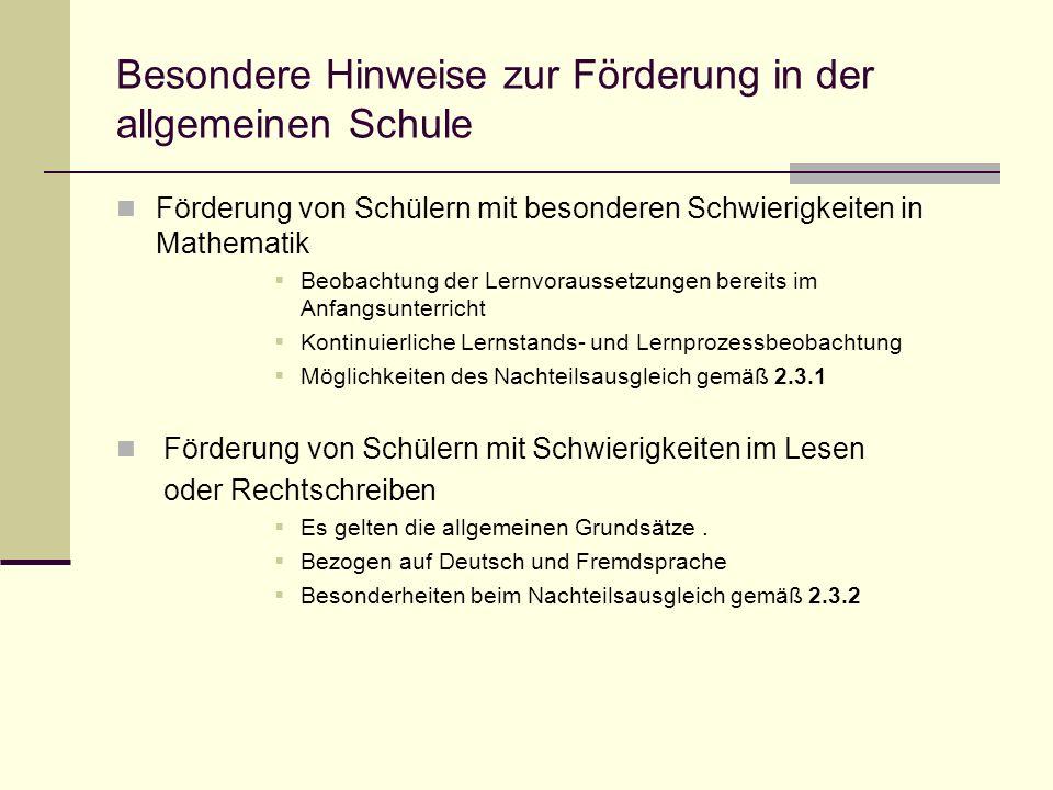 Besondere Hinweise zur Förderung in der allgemeinen Schule Förderung von Schülern mit besonderen Schwierigkeiten in Mathematik Beobachtung der Lernvor