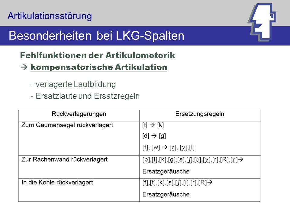 Artikulationsstörung Besonderheiten bei LKG-Spalten Fehlfunktionen der Artikulomotorik kompensatorische Artikulation - verlagerte Lautbildung - Ersatz