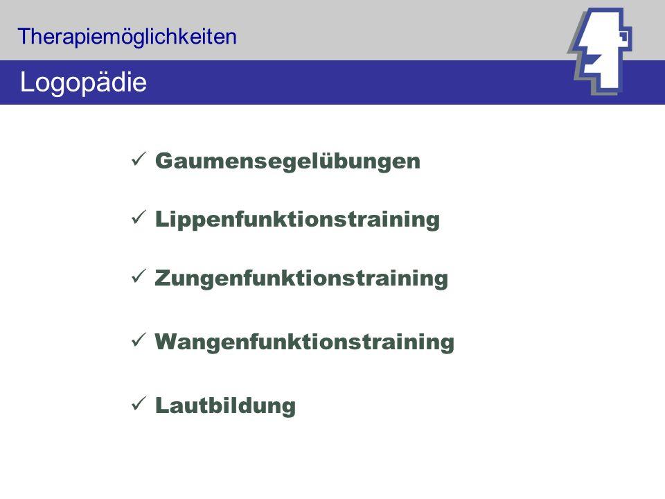 Therapiemöglichkeiten Logopädie Gaumensegelübungen Lippenfunktionstraining Zungenfunktionstraining Wangenfunktionstraining Lautbildung