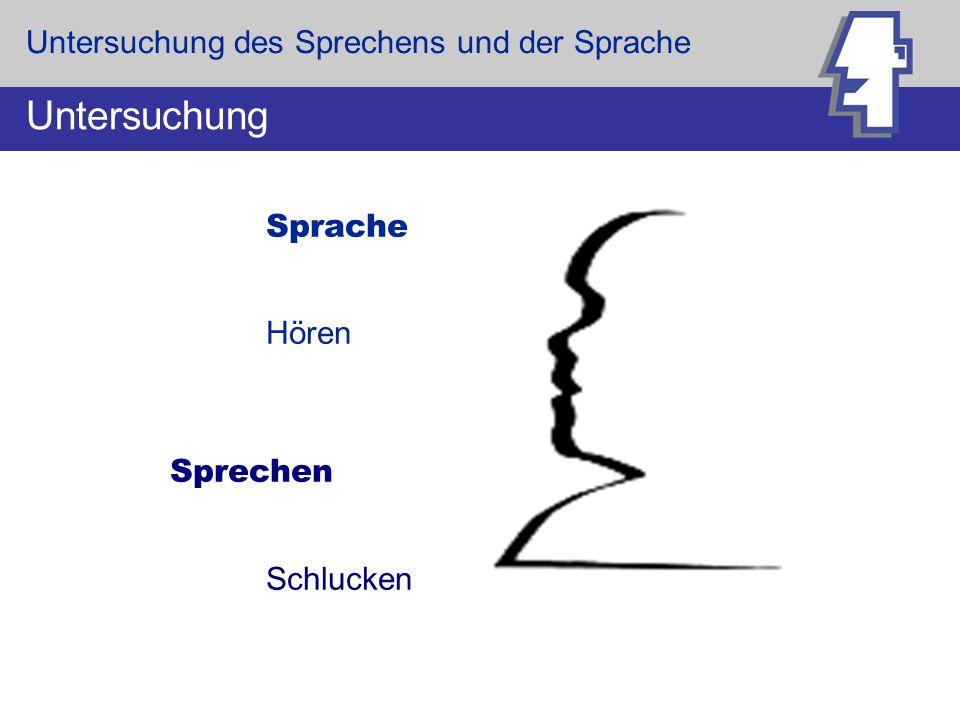 Sprache = Teil der Kommunikation, Verständigung durch Worte Sprechen = Fähigkeit, Laute zu bilden: Artikulation, Lautbildung Definition Untersuchung des Sprechens und der Sprache