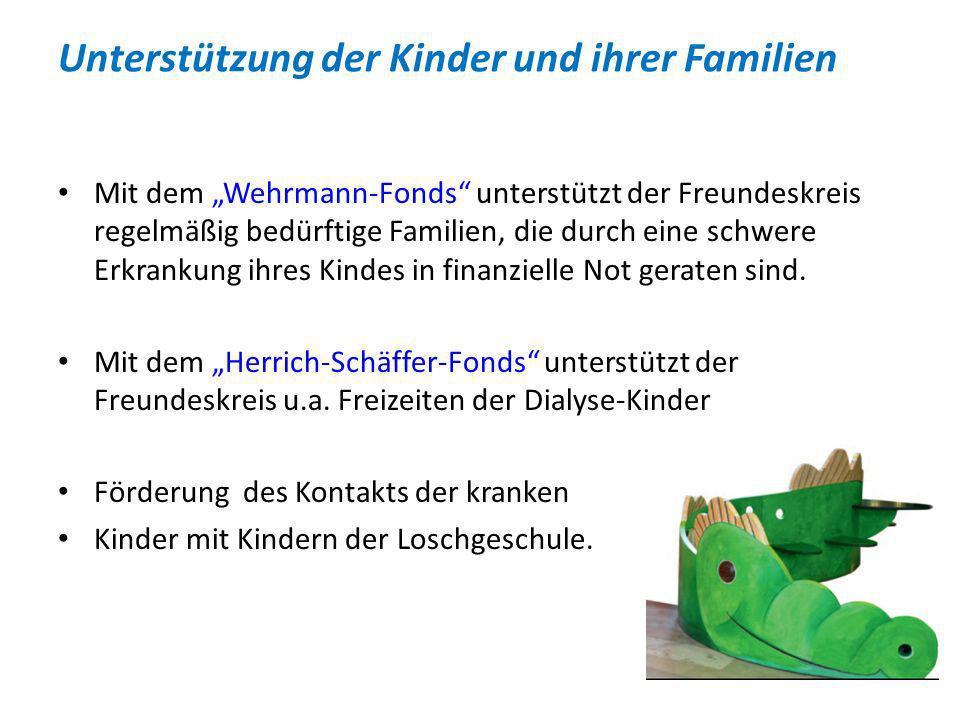 Unterstützung der Kinder und ihrer Familien Mit dem Wehrmann-Fonds unterstützt der Freundeskreis regelmäßig bedürftige Familien, die durch eine schwer