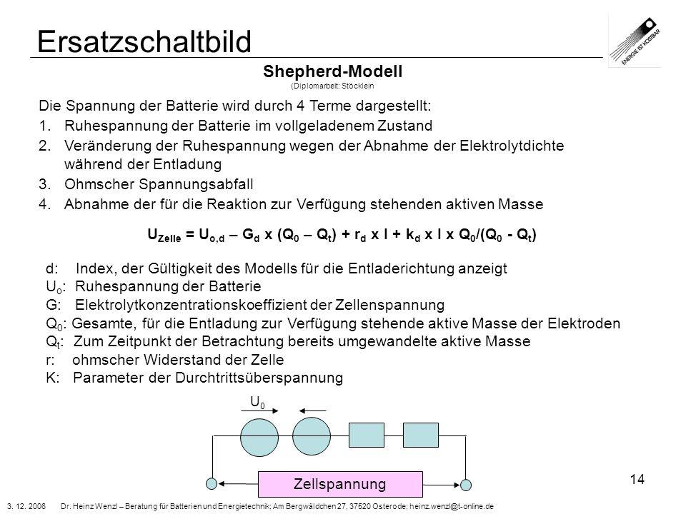 3. 12. 2006 Dr. Heinz Wenzl – Beratung für Batterien und Energietechnik; Am Bergwäldchen 27, 37520 Osterode; heinz.wenzl@t-online.de 14 Ersatzschaltbi