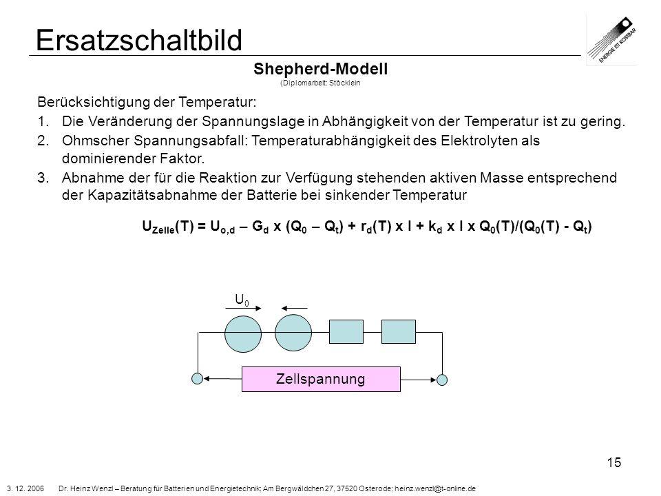 3. 12. 2006 Dr. Heinz Wenzl – Beratung für Batterien und Energietechnik; Am Bergwäldchen 27, 37520 Osterode; heinz.wenzl@t-online.de 15 Ersatzschaltbi