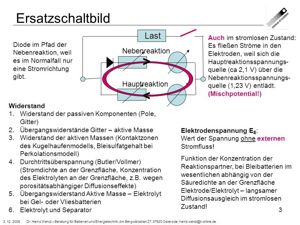 3. 12. 2006 Dr. Heinz Wenzl – Beratung für Batterien und Energietechnik; Am Bergwäldchen 27, 37520 Osterode; heinz.wenzl@t-online.de 3 Ersatzschaltbil