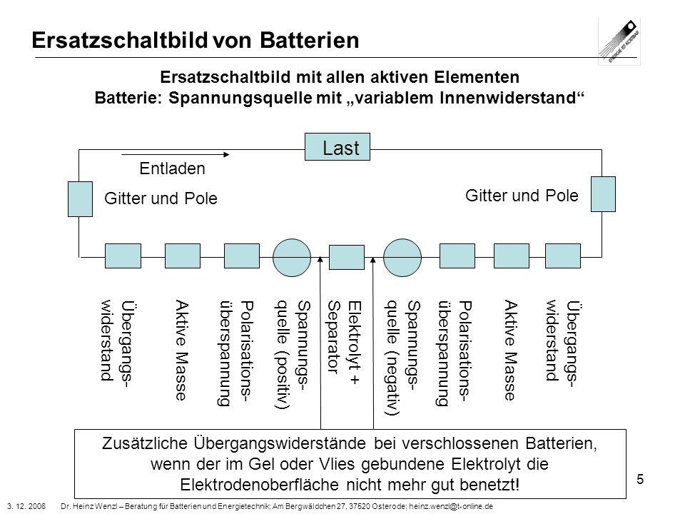3. 12. 2006 Dr. Heinz Wenzl – Beratung für Batterien und Energietechnik; Am Bergwäldchen 27, 37520 Osterode; heinz.wenzl@t-online.de 5 Ersatzschaltbil