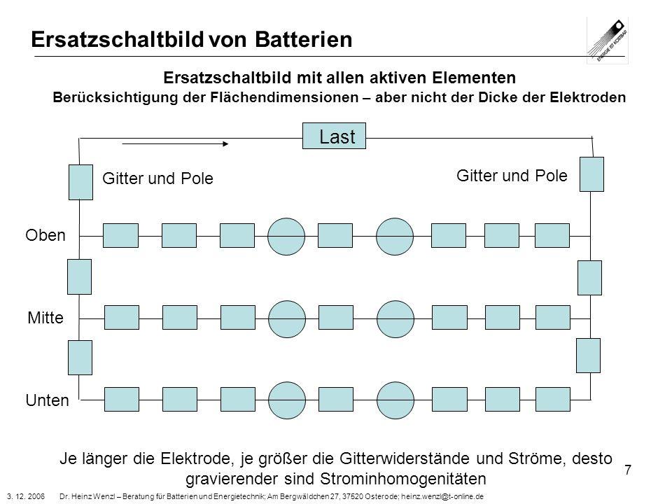 3. 12. 2006 Dr. Heinz Wenzl – Beratung für Batterien und Energietechnik; Am Bergwäldchen 27, 37520 Osterode; heinz.wenzl@t-online.de 7 Ersatzschaltbil