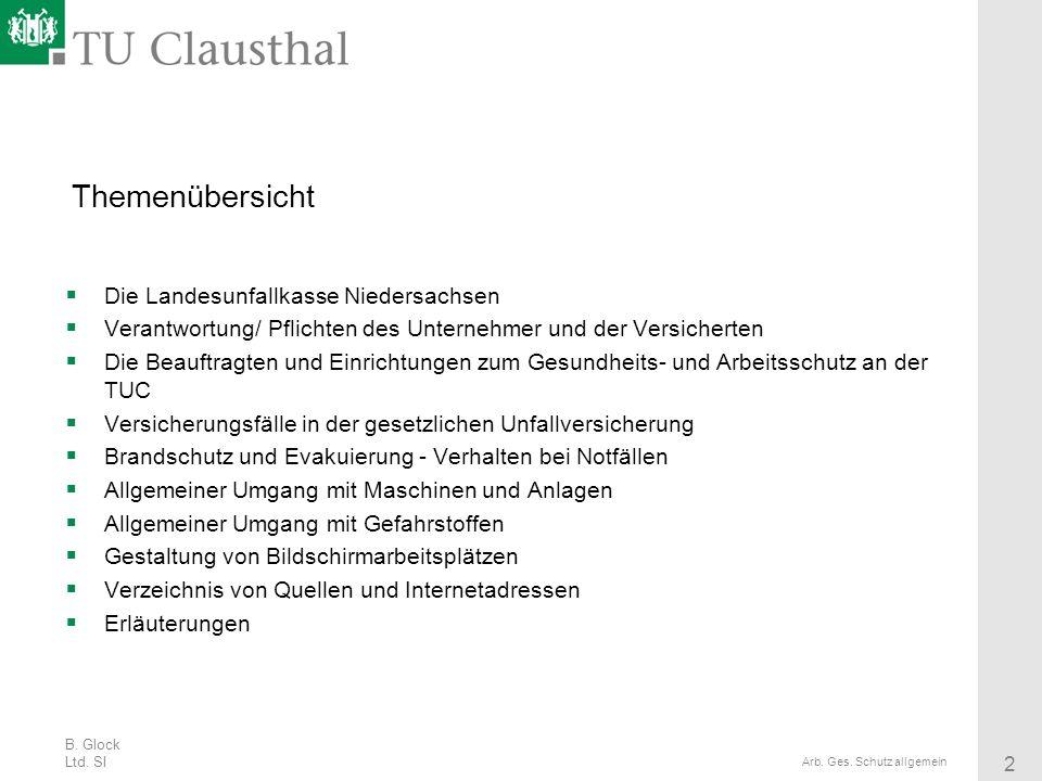 B. Glock Ltd. SI 2 Arb. Ges. Schutz allgemein Themenübersicht Die Landesunfallkasse Niedersachsen Verantwortung/ Pflichten des Unternehmer und der Ver