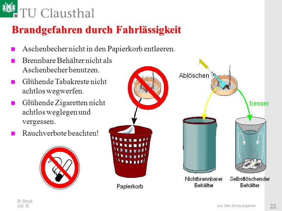 B. Glock Ltd. SI 22 Arb. Ges. Schutz allgemein Brandgefahren durch Fahrlässigkeit Aschenbecher nicht in den Papierkorb entleeren. Brennbare Behälter n