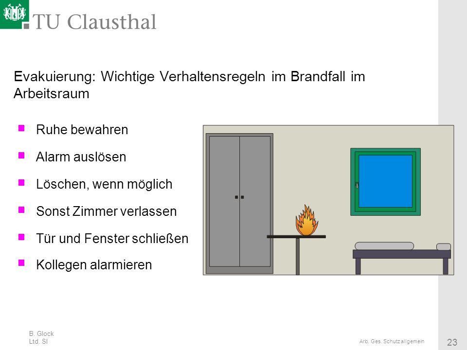 B. Glock Ltd. SI 23 Arb. Ges. Schutz allgemein Evakuierung: Wichtige Verhaltensregeln im Brandfall im Arbeitsraum Ruhe bewahren Alarm auslösen Löschen