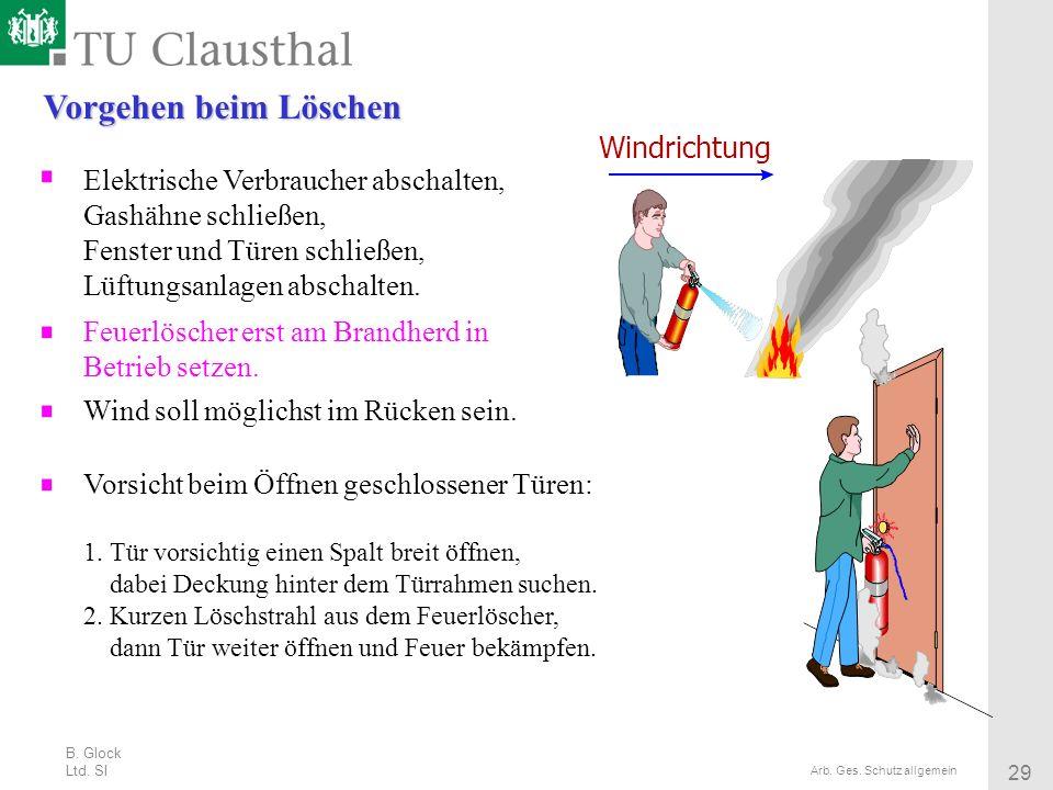B. Glock Ltd. SI 29 Arb. Ges. Schutz allgemein Vorgehen beim Löschen Elektrische Verbraucher abschalten, Gashähne schließen, Fenster und Türen schließ
