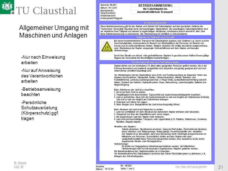 B. Glock Ltd. SI 31 Arb. Ges. Schutz allgemein Allgemeiner Umgang mit Maschinen und Anlagen -Nur nach Einweisung arbeiten -Nur auf Anweisung des Veran