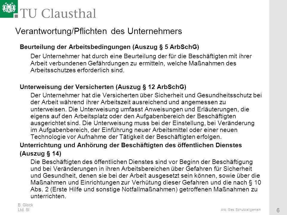 B. Glock Ltd. SI 6 Arb. Ges. Schutz allgemein Verantwortung/Pflichten des Unternehmers Beurteilung der Arbeitsbedingungen (Auszug § 5 ArbSchG) Der Unt