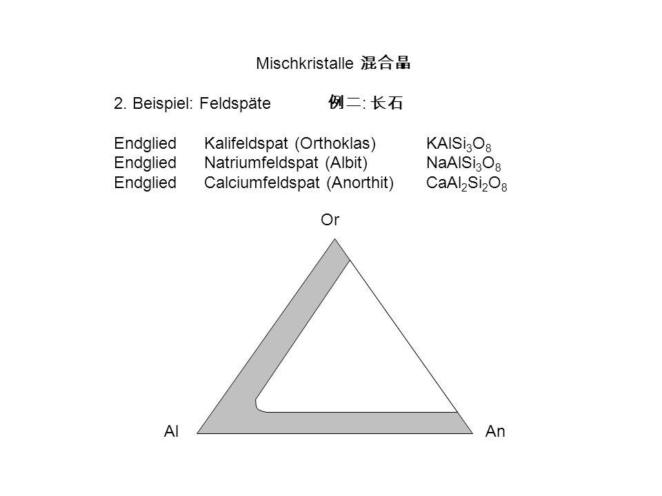 Mischkristalle 2. Beispiel: Feldspäte : EndgliedKalifeldspat (Orthoklas) KAlSi 3 O 8 EndgliedNatriumfeldspat (Albit)NaAlSi 3 O 8 EndgliedCalciumfeldsp
