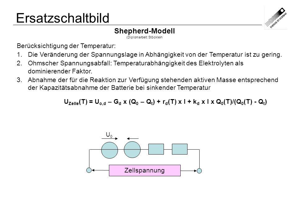 Ersatzschaltbild Shepherd-Modell (Diplomarbeit: Stöcklein Berücksichtigung der Temperatur: 1.Die Veränderung der Spannungslage in Abhängigkeit von der