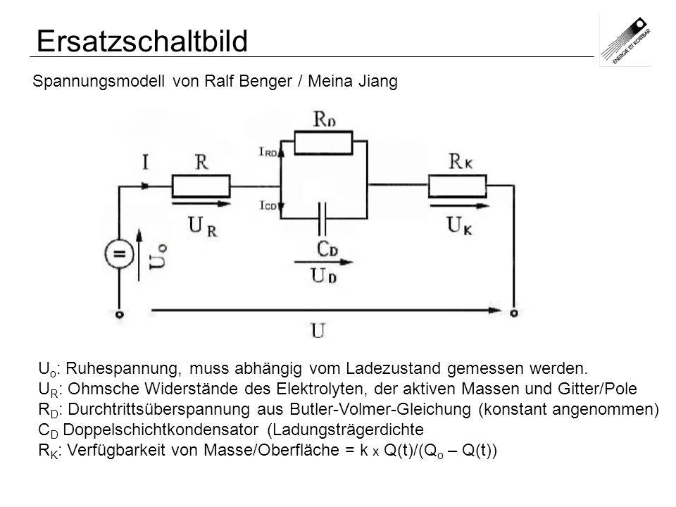 Spannungsmodell von Ralf Benger / Meina Jiang U o : Ruhespannung, muss abhängig vom Ladezustand gemessen werden. U R : Ohmsche Widerstände des Elektro