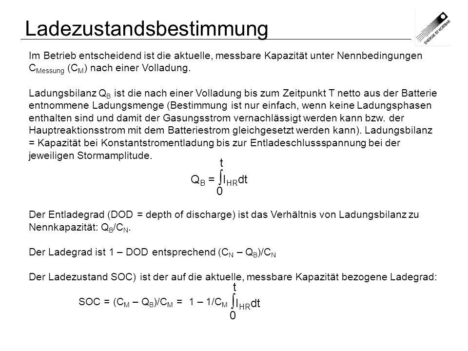 Im Betrieb entscheidend ist die aktuelle, messbare Kapazität unter Nennbedingungen C Messung (C M ) nach einer Volladung. Ladungsbilanz Q B ist die na