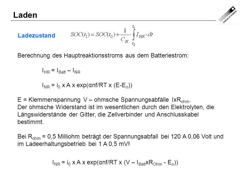 Ladezustand Laden Berechnung des Hauptreaktionsstroms aus dem Batteriestrom: I HR = I Batt – I NR I NR = i 0 x A x exp(αnf/RT x (E-E o )) E = Klemmens