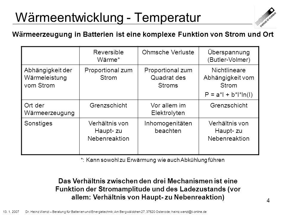 13. 1. 2007 Dr. Heinz Wenzl – Beratung für Batterien und Energietechnik; Am Bergwäldchen 27, 37520 Osterode; heinz.wenzl@t-online.de 4 Wärmeentwicklun