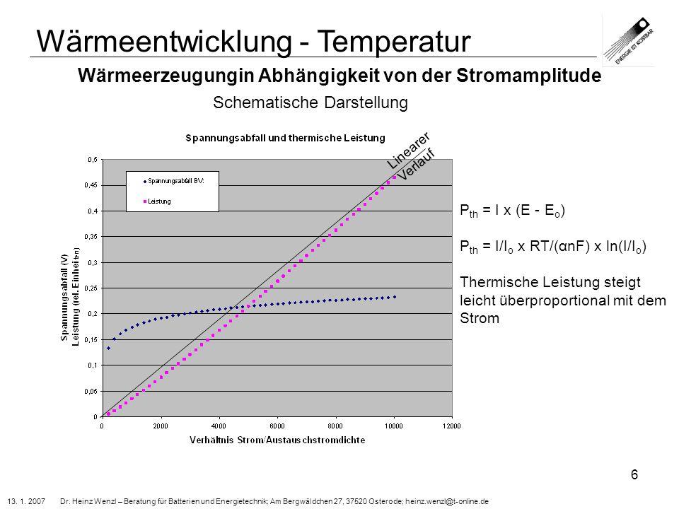 13. 1. 2007 Dr. Heinz Wenzl – Beratung für Batterien und Energietechnik; Am Bergwäldchen 27, 37520 Osterode; heinz.wenzl@t-online.de 6 Wärmeerzeugungi