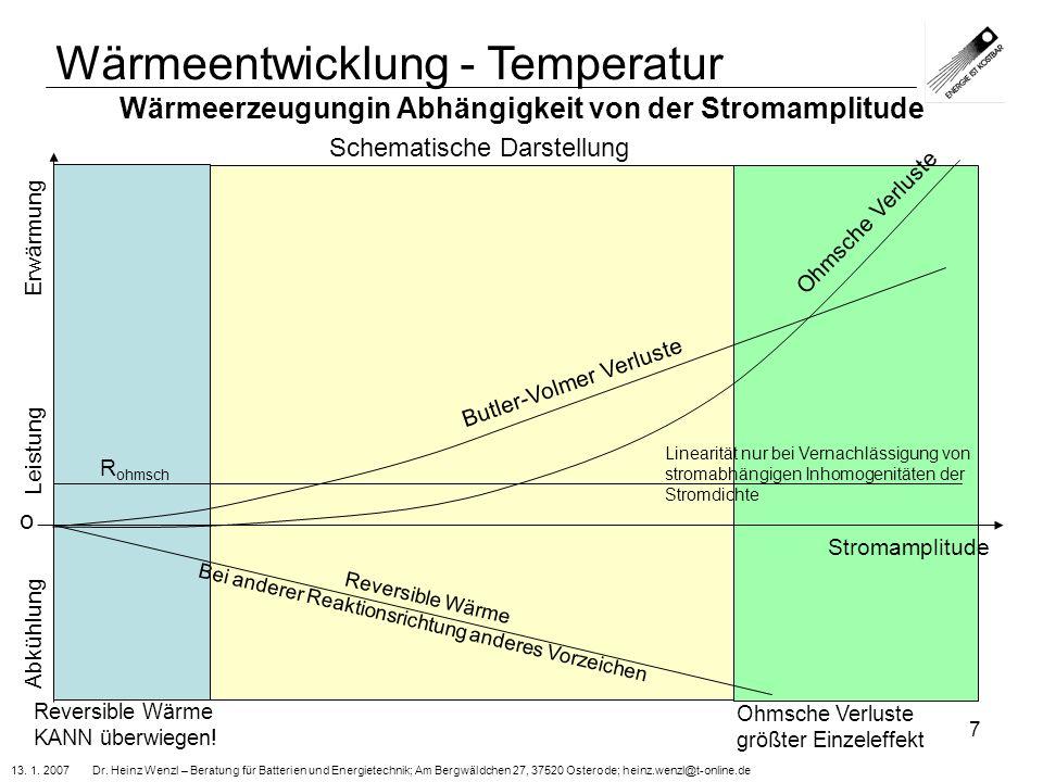 13. 1. 2007 Dr. Heinz Wenzl – Beratung für Batterien und Energietechnik; Am Bergwäldchen 27, 37520 Osterode; heinz.wenzl@t-online.de 7 Wärmeerzeugungi