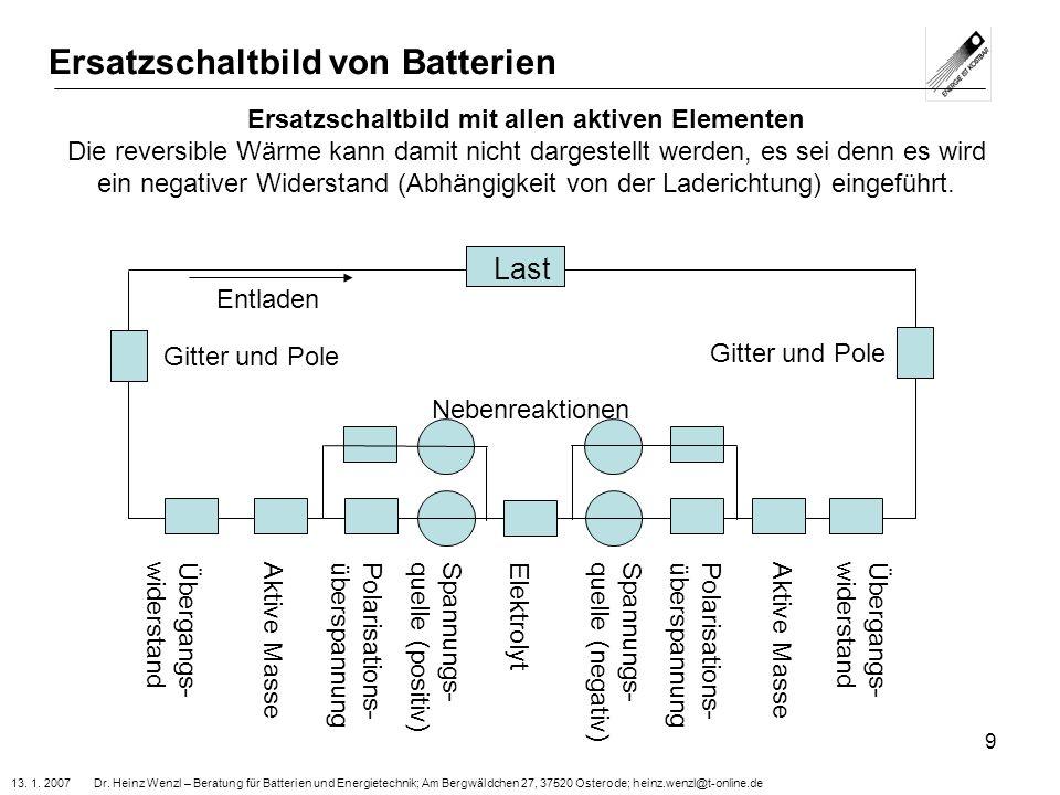 13. 1. 2007 Dr. Heinz Wenzl – Beratung für Batterien und Energietechnik; Am Bergwäldchen 27, 37520 Osterode; heinz.wenzl@t-online.de 9 Ersatzschaltbil