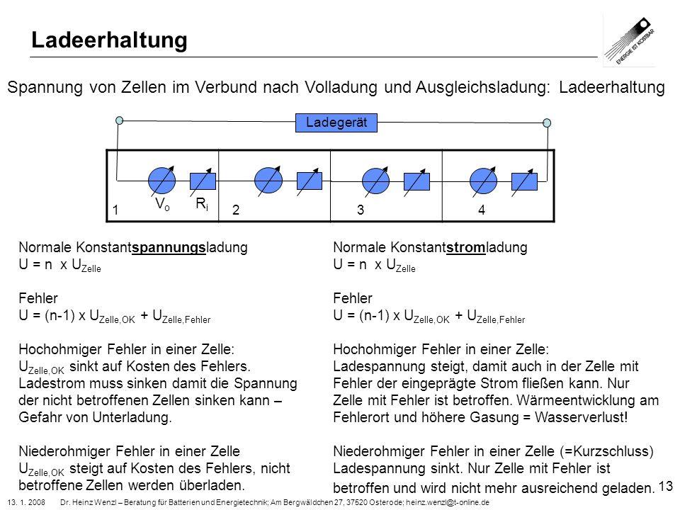 13. 1. 2008 Dr. Heinz Wenzl – Beratung für Batterien und Energietechnik; Am Bergwäldchen 27, 37520 Osterode; heinz.wenzl@t-online.de 13 V o R i Spannu
