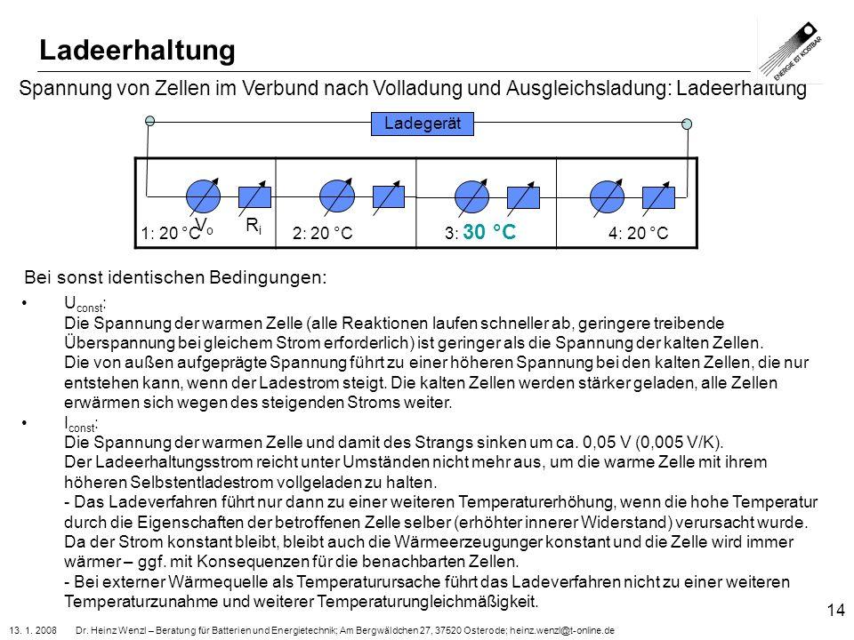 13. 1. 2008 Dr. Heinz Wenzl – Beratung für Batterien und Energietechnik; Am Bergwäldchen 27, 37520 Osterode; heinz.wenzl@t-online.de 14 V o R i Spannu
