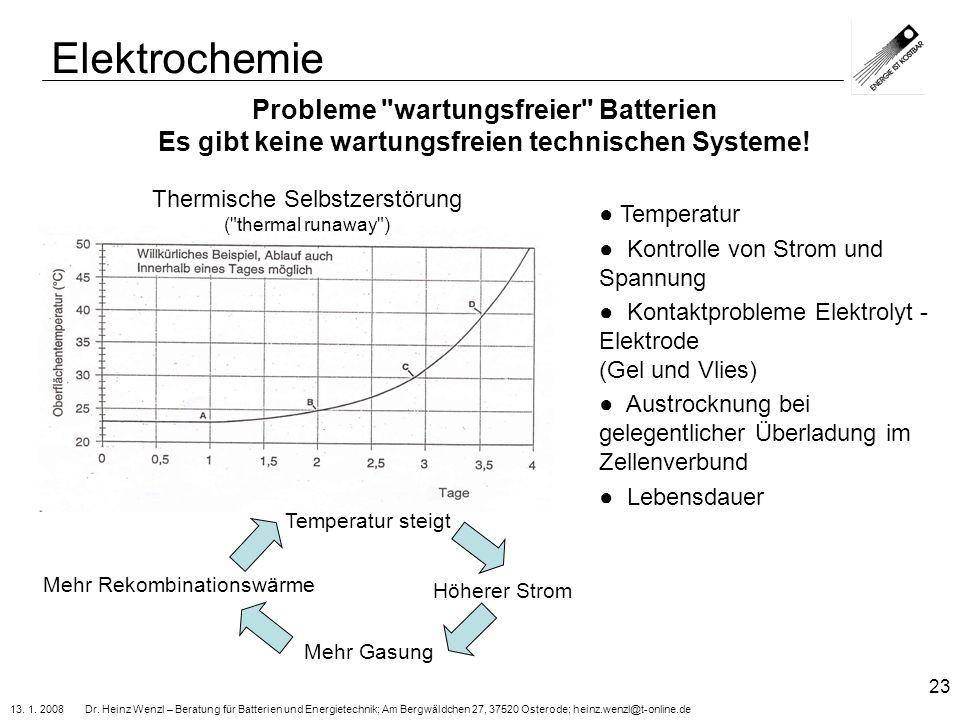 13. 1. 2008 Dr. Heinz Wenzl – Beratung für Batterien und Energietechnik; Am Bergwäldchen 27, 37520 Osterode; heinz.wenzl@t-online.de 23 Probleme